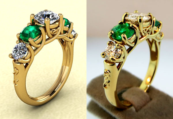 On the left, a design in CAD. On the right, the ring produced in gold.